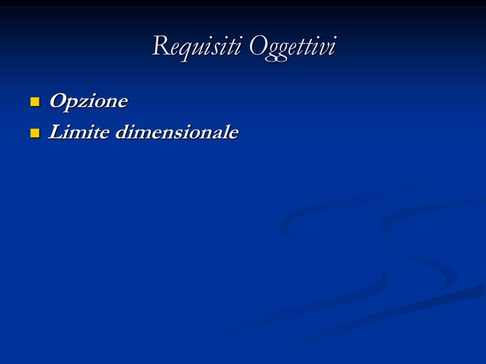 Requisiti Oggettivi Opzione Opzione Limite dimensionale Limite dimensionale