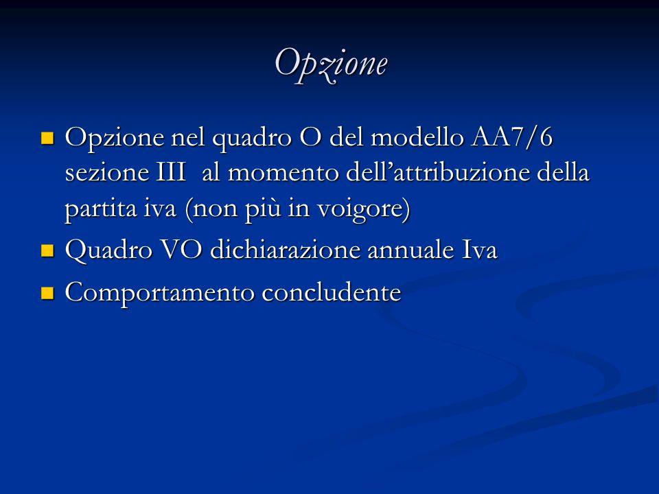Opzione Opzione nel quadro O del modello AA7/6 sezione III al momento dellattribuzione della partita iva (non più in voigore) Opzione nel quadro O del modello AA7/6 sezione III al momento dellattribuzione della partita iva (non più in voigore) Quadro VO dichiarazione annuale Iva Quadro VO dichiarazione annuale Iva Comportamento concludente Comportamento concludente