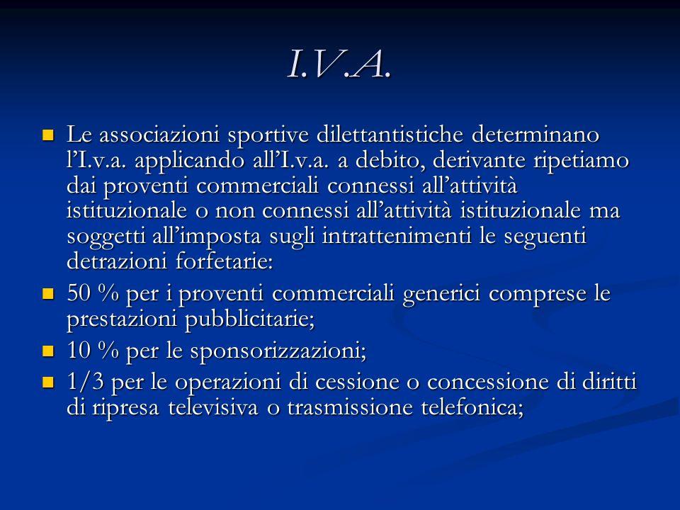 I.V.A.Le associazioni sportive dilettantistiche determinano lI.v.a.
