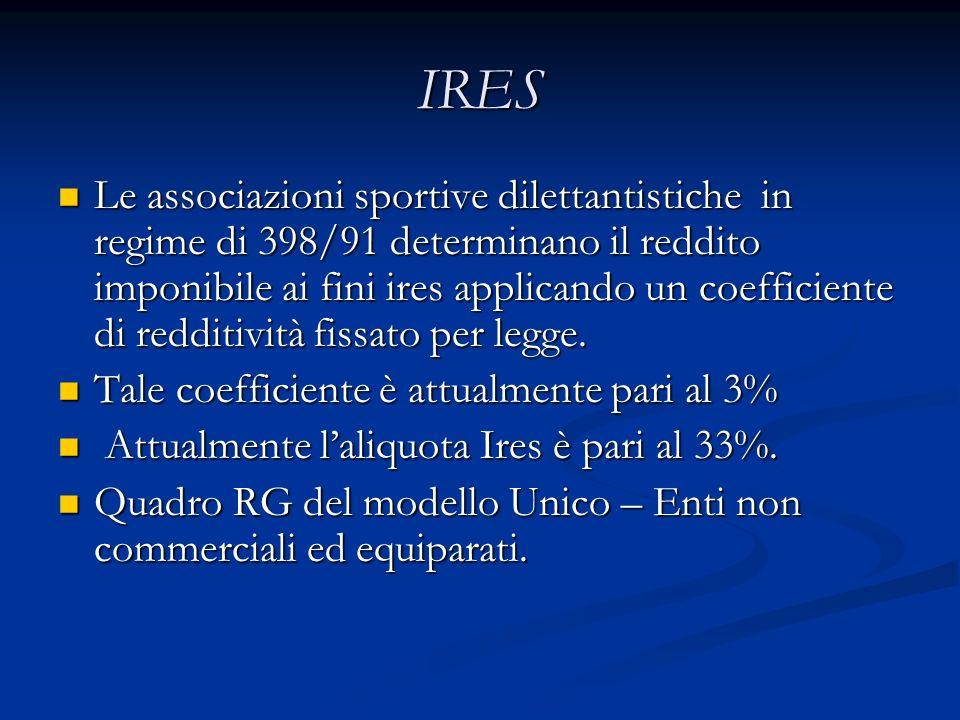IRES Le associazioni sportive dilettantistiche in regime di 398/91 determinano il reddito imponibile ai fini ires applicando un coefficiente di redditività fissato per legge.