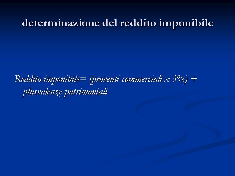 determinazione del reddito imponibile Reddito imponibile= (proventi commerciali x 3%) + plusvalenze patrimoniali