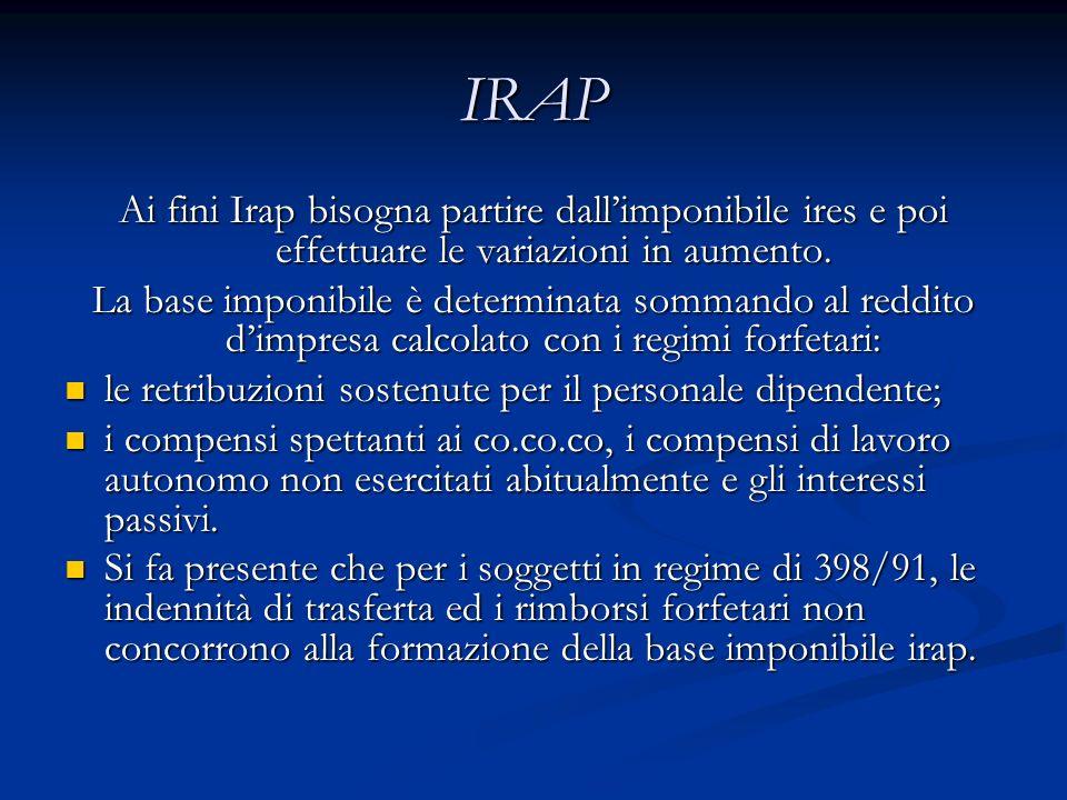IRAP Ai fini Irap bisogna partire dallimponibile ires e poi effettuare le variazioni in aumento.