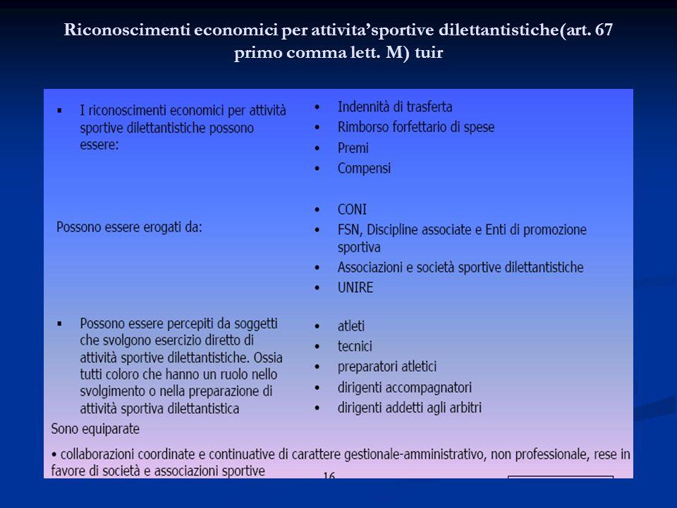 Riconoscimenti economici per attivitasportive dilettantistiche(art. 67 primo comma lett. M) tuir