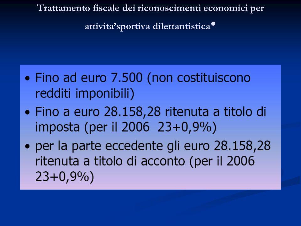 Trattamento fiscale dei riconoscimenti economici per attivitasportiva dilettantistica