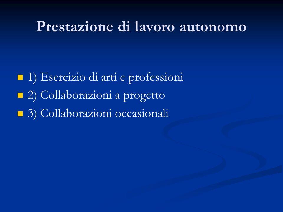 Prestazione di lavoro autonomo 1) Esercizio di arti e professioni 2) Collaborazioni a progetto 3) Collaborazioni occasionali