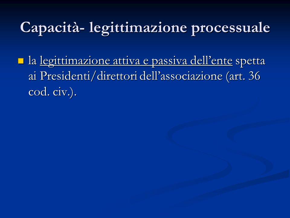 Capacità- legittimazione processuale la legittimazione attiva e passiva dellente spetta ai Presidenti/direttori dellassociazione (art.