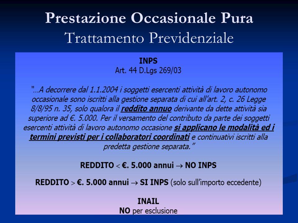 Prestazione Occasionale Pura Trattamento Previdenziale