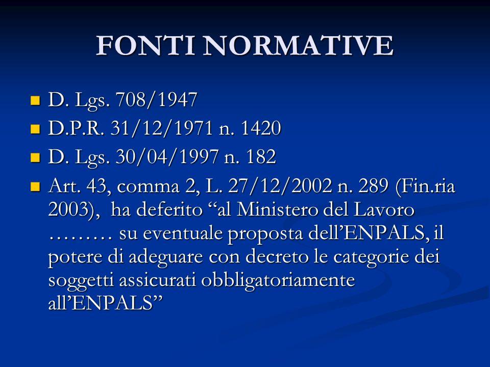 FONTI NORMATIVE D.Lgs. 708/1947 D. Lgs. 708/1947 D.P.R.