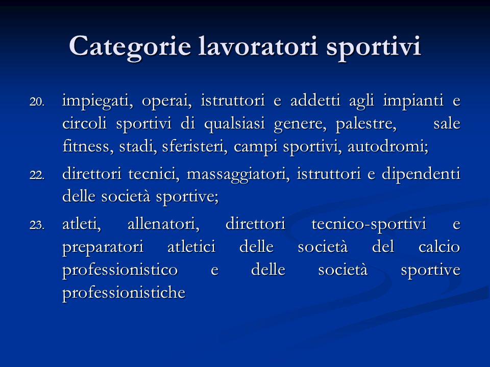 Categorie lavoratori sportivi 20.
