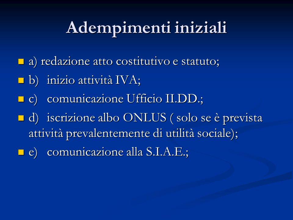 Adempimenti iniziali a) redazione atto costitutivo e statuto; a) redazione atto costitutivo e statuto; b)inizio attività IVA; b)inizio attività IVA; c)comunicazione Ufficio II.DD.; c)comunicazione Ufficio II.DD.; d)iscrizione albo ONLUS ( solo se è prevista attività prevalentemente di utilità sociale); d)iscrizione albo ONLUS ( solo se è prevista attività prevalentemente di utilità sociale); e)comunicazione alla S.I.A.E.; e)comunicazione alla S.I.A.E.;