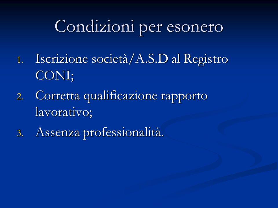 Condizioni per esonero 1.Iscrizione società/A.S.D al Registro CONI; 2.