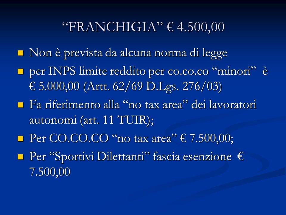 FRANCHIGIA 4.500,00 Non è prevista da alcuna norma di legge Non è prevista da alcuna norma di legge per INPS limite reddito per co.co.co minori è 5.000,00 (Artt.