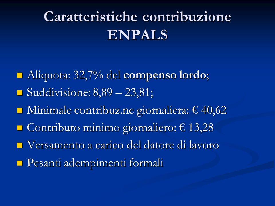Caratteristiche contribuzione ENPALS Aliquota: 32,7% del compenso lordo; Aliquota: 32,7% del compenso lordo; Suddivisione: 8,89 – 23,81; Suddivisione: 8,89 – 23,81; Minimale contribuz.ne giornaliera: 40,62 Minimale contribuz.ne giornaliera: 40,62 Contributo minimo giornaliero: 13,28 Contributo minimo giornaliero: 13,28 Versamento a carico del datore di lavoro Versamento a carico del datore di lavoro Pesanti adempimenti formali Pesanti adempimenti formali