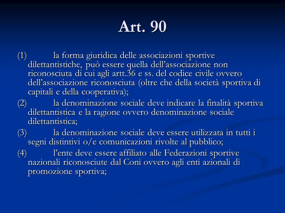 Art. 90 (1) la forma giuridica delle associazioni sportive dilettantistiche, può essere quella dellassociazione non riconosciuta di cui agli artt.36 e