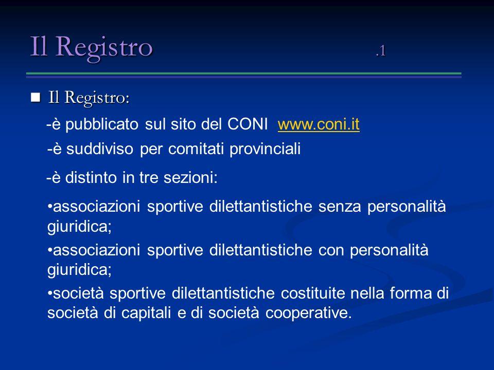 Il Registro.1 Il Registro: Il Registro: associazioni sportive dilettantistiche senza personalità giuridica; associazioni sportive dilettantistiche con personalità giuridica; società sportive dilettantistiche costituite nella forma di società di capitali e di società cooperative.