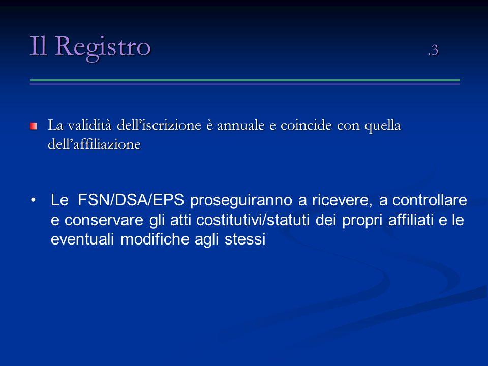 Il Registro.3 La validità delliscrizione è annuale e coincide con quella dellaffiliazione Le FSN/DSA/EPS proseguiranno a ricevere, a controllare e conservare gli atti costitutivi/statuti dei propri affiliati e le eventuali modifiche agli stessi