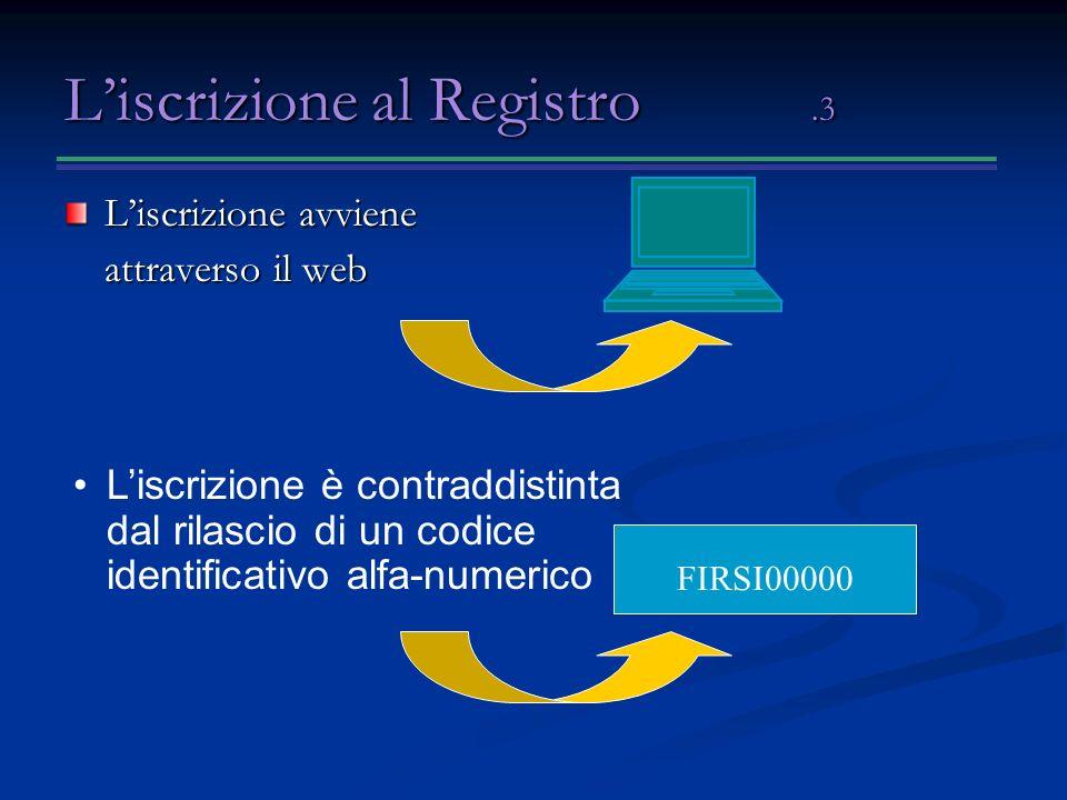 Liscrizione al Registro.3 Liscrizione avviene attraverso il web FIRSI00000 Liscrizione è contraddistinta dal rilascio di un codice identificativo alfa-numerico
