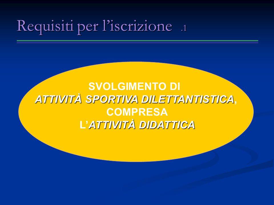 Requisiti per liscrizione.1 SVOLGIMENTO DI ATTIVITÀ SPORTIVA DILETTANTISTICA ATTIVITÀ SPORTIVA DILETTANTISTICA, COMPRESA ATTIVITÀ DIDATTICA LATTIVITÀ DIDATTICA