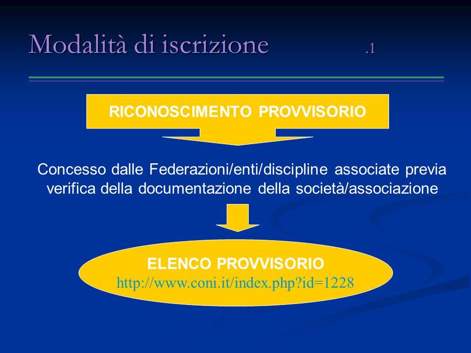 Modalità di iscrizione.1 Concesso dalle Federazioni/enti/discipline associate previa verifica della documentazione della società/associazione RICONOSCIMENTO PROVVISORIO ELENCO PROVVISORIO http://www.coni.it/index.php?id=1228