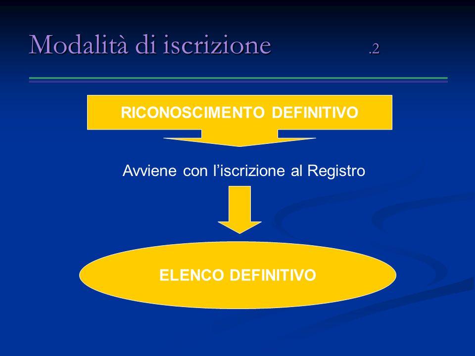 Modalità di iscrizione.2 Avviene con liscrizione al Registro RICONOSCIMENTO DEFINITIVO ELENCO DEFINITIVO