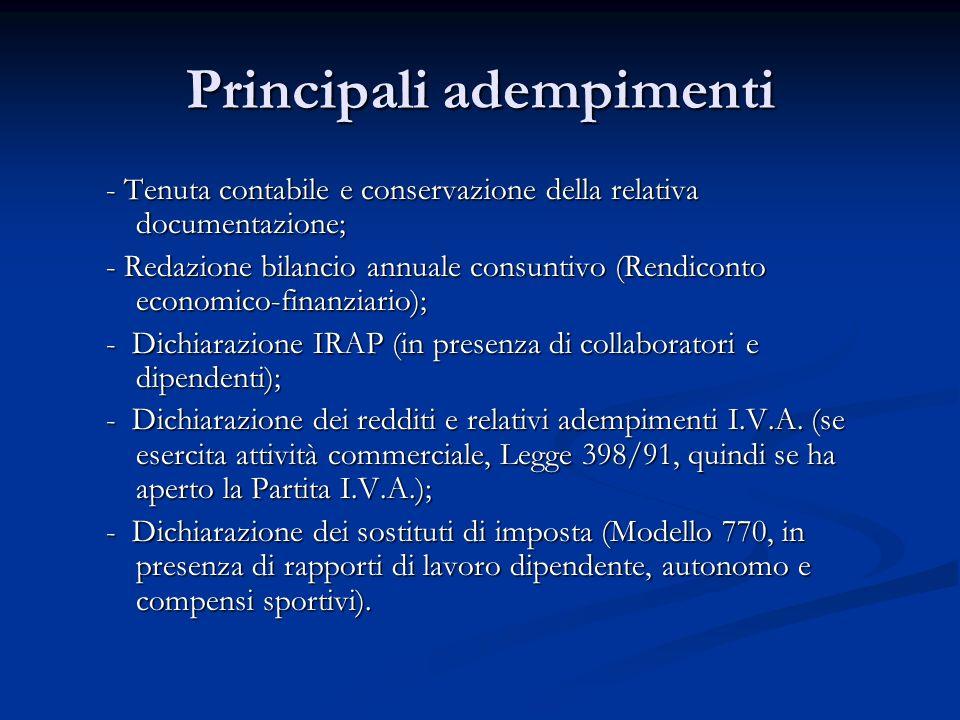 Principali adempimenti - Tenuta contabile e conservazione della relativa documentazione; - Redazione bilancio annuale consuntivo (Rendiconto economico-finanziario); - Dichiarazione IRAP (in presenza di collaboratori e dipendenti); - Dichiarazione dei redditi e relativi adempimenti I.V.A.