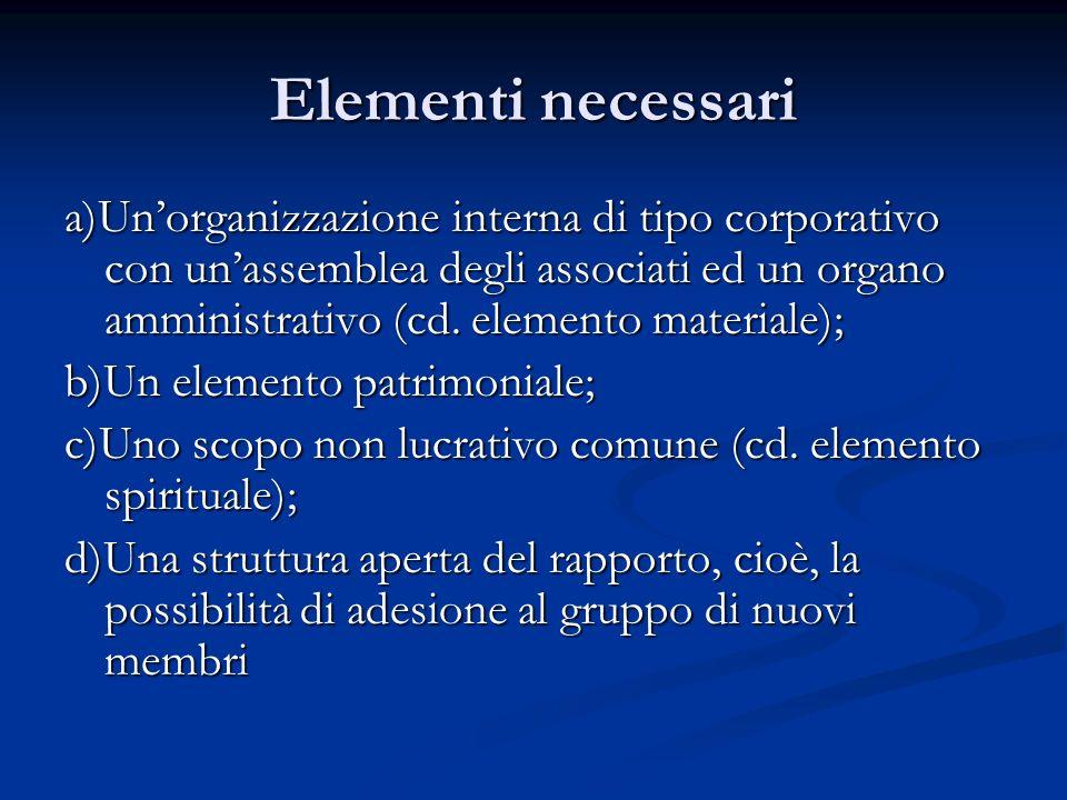 Elementi necessari a)Unorganizzazione interna di tipo corporativo con unassemblea degli associati ed un organo amministrativo (cd.