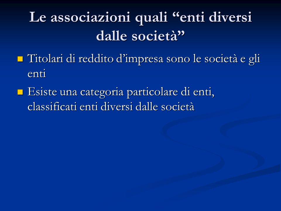 Le associazioni quali enti diversi dalle società Titolari di reddito dimpresa sono le società e gli enti Titolari di reddito dimpresa sono le società e gli enti Esiste una categoria particolare di enti, classificati enti diversi dalle società Esiste una categoria particolare di enti, classificati enti diversi dalle società