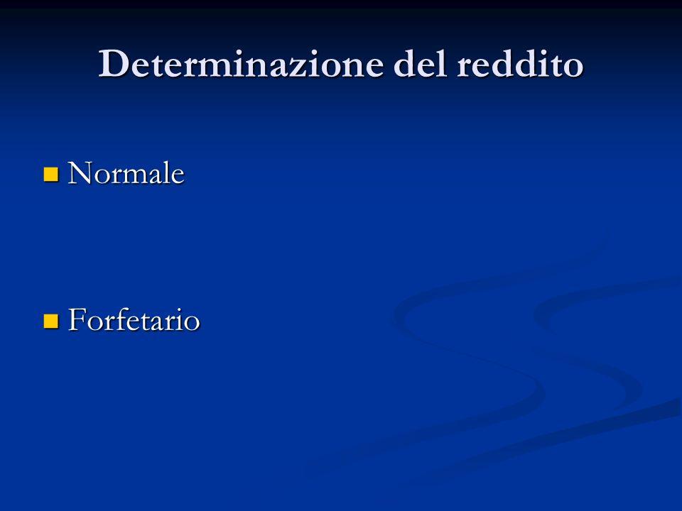 Determinazione del reddito Normale Normale Forfetario Forfetario