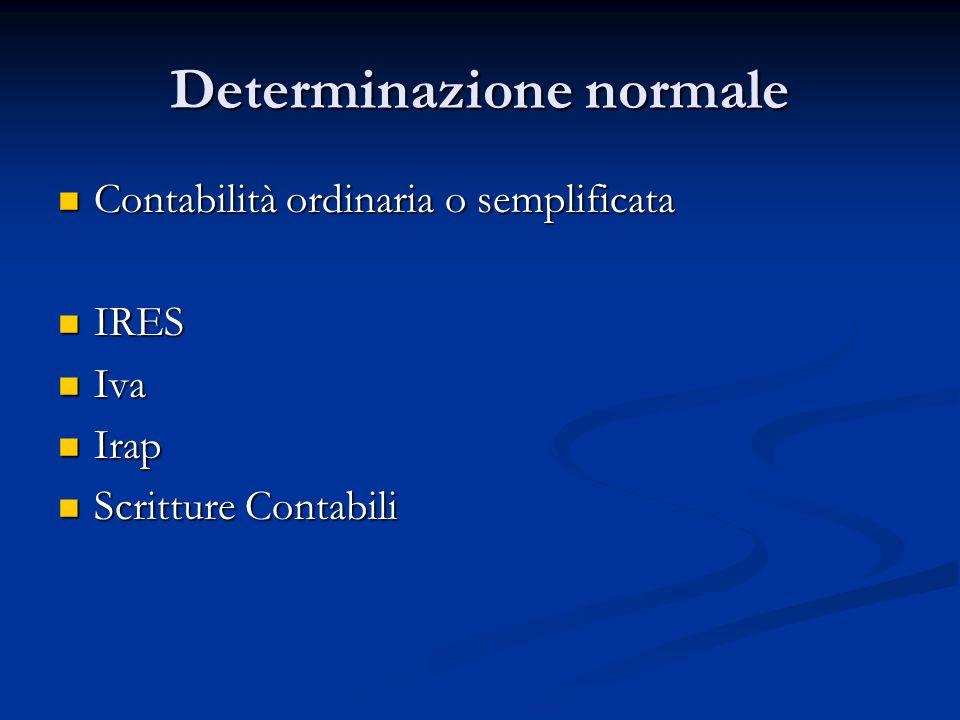 Determinazione normale Contabilità ordinaria o semplificata Contabilità ordinaria o semplificata IRES IRES Iva Iva Irap Irap Scritture Contabili Scritture Contabili