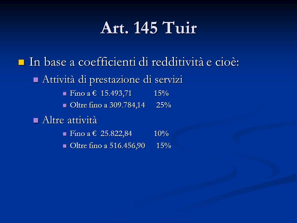 Art. 145 Tuir In base a coefficienti di redditività e cioè: In base a coefficienti di redditività e cioè: Attività di prestazione di servizi Attività