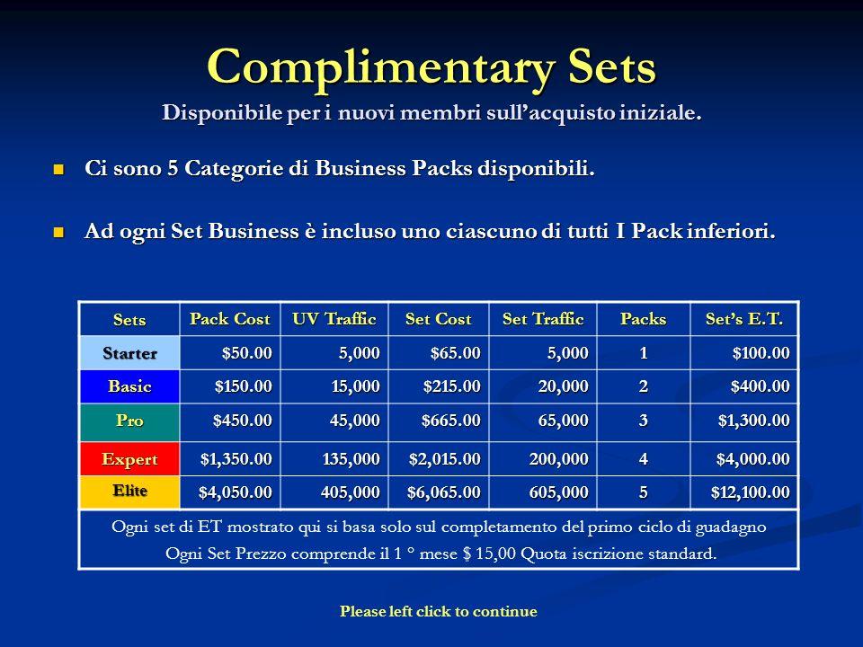 Complimentary Sets Disponibile per i nuovi membri sullacquisto iniziale. Ci sono 5 Categorie di Business Packs disponibili. Ci sono 5 Categorie di Bus
