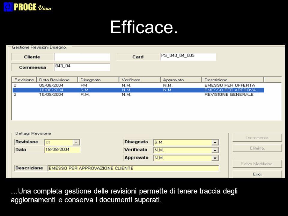 Efficace. …Una completa gestione delle revisioni permette di tenere traccia degli aggiornamenti e conserva i documenti superati.