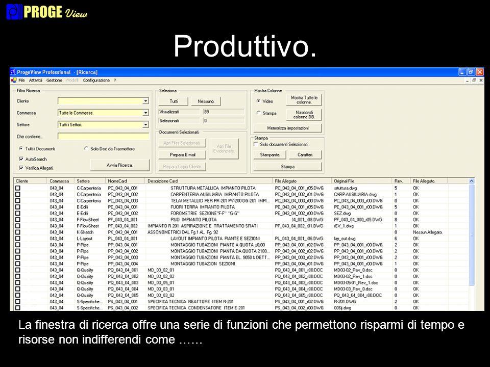 Produttivo. La finestra di ricerca offre una serie di funzioni che permettono risparmi di tempo e risorse non indifferendi come ……
