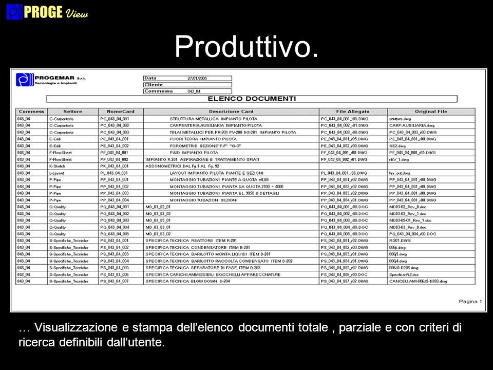 Produttivo. … Visualizzazione e stampa dellelenco documenti totale, parziale e con criteri di ricerca definibili dallutente.