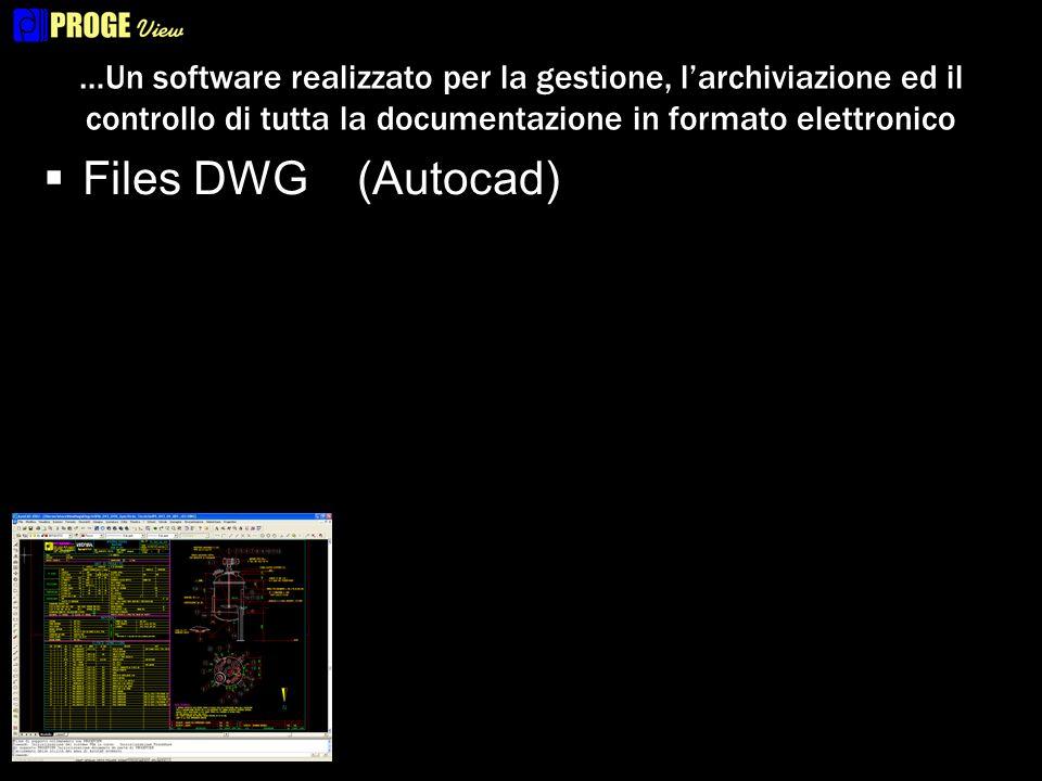 …Un software realizzato per la gestione, larchiviazione ed il controllo di tutta la documentazione in formato elettronico Files DWG (Autocad) Files XLS(Microsoft Excel)