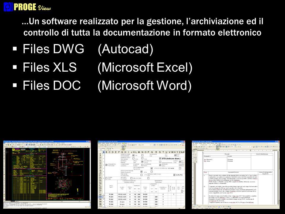 …Un software realizzato per la gestione, larchiviazione ed il controllo di tutta la documentazione in formato elettronico Files DWG (Autocad) Files XLS(Microsoft Excel) Files DOC(Microsoft Word) Files PDF(Acrobat) Permette larchiviazione di qualunque tipo di file.