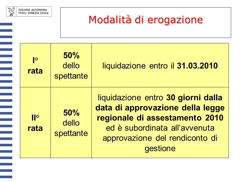 Modalità di erogazione I° rata 50% dello spettante liquidazione entro il 31.03.2010 II° rata 50% dello spettante liquidazione entro 30 giorni dalla data di approvazione della legge regionale di assestamento 2010 ed è subordinata allavvenuta approvazione del rendiconto di gestione