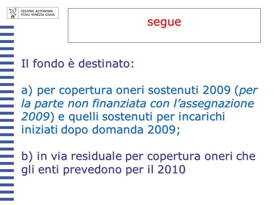 Il fondo è destinato: a) per copertura oneri sostenuti 2009 (per la parte non finanziata con lassegnazione 2009) e quelli sostenuti per incarichi iniz