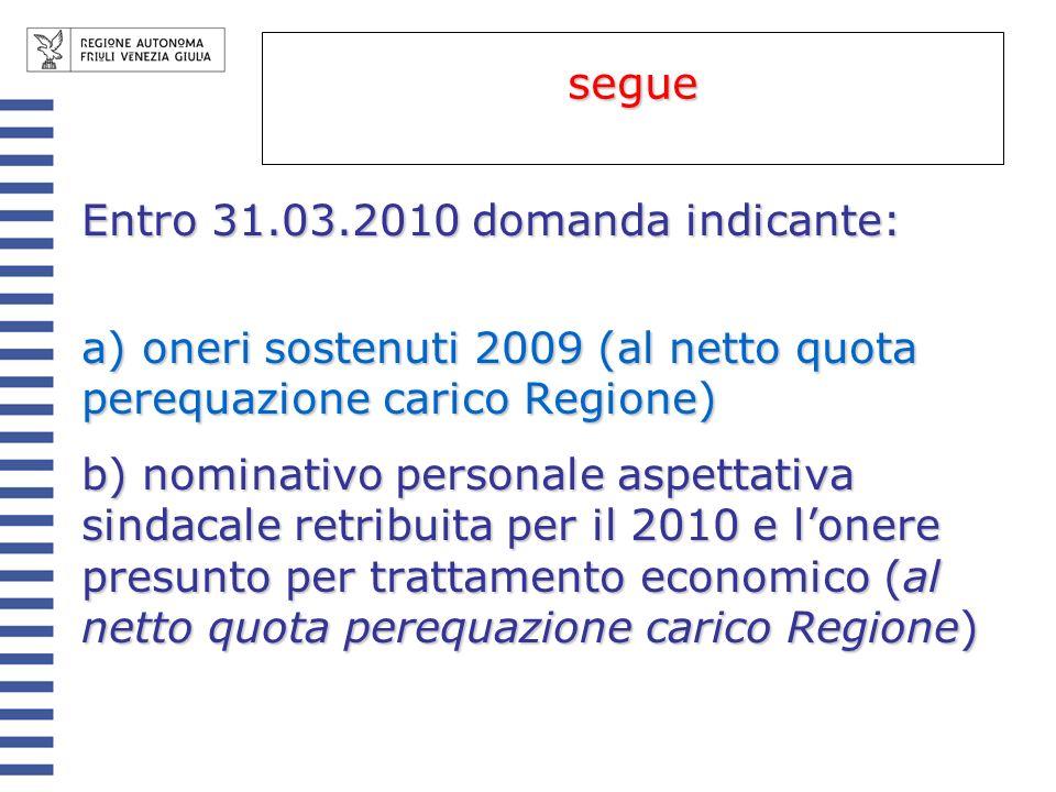 Entro 31.03.2010 domanda indicante: a) oneri sostenuti 2009 (al netto quota perequazione carico Regione) b) nominativo personale aspettativa sindacale