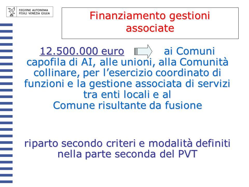 12.500.000 euro ai Comuni capofila di AI, alle unioni, alla Comunità collinare, per lesercizio coordinato di funzioni e la gestione associata di servizi tra enti locali e al Comune risultante da fusione riparto secondo criteri e modalità definiti nella parte seconda del PVT Finanziamento gestioni associate