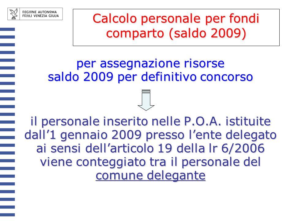 per assegnazione risorse saldo 2009 per definitivo concorso il personale inserito nelle P.O.A. istituite dall1 gennaio 2009 presso lente delegato ai s