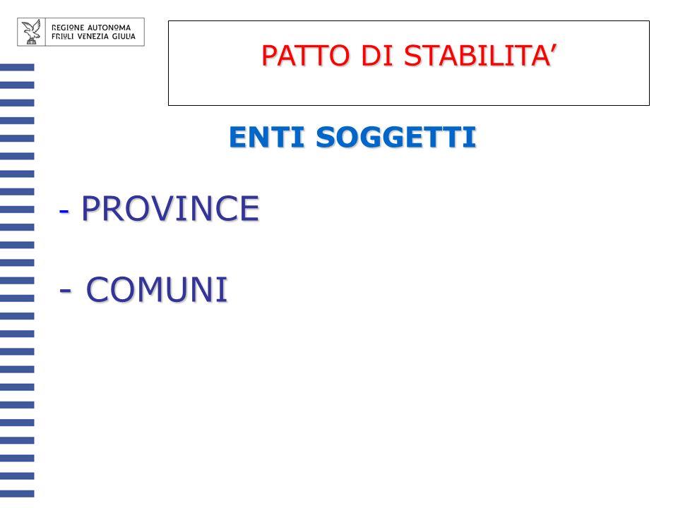 ENTI SOGGETTI - PROVINCE - COMUNI PATTO DI STABILITA