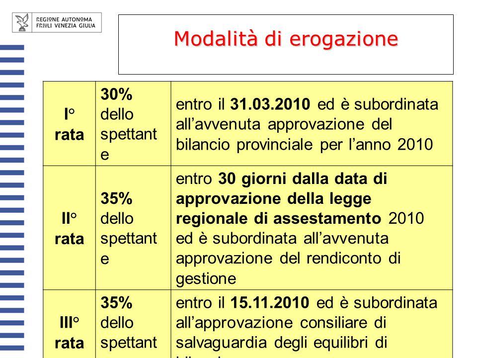 Modalità di erogazione I° rata 30% dello spettant e entro il 31.03.2010 ed è subordinata allavvenuta approvazione del bilancio provinciale per lanno 2