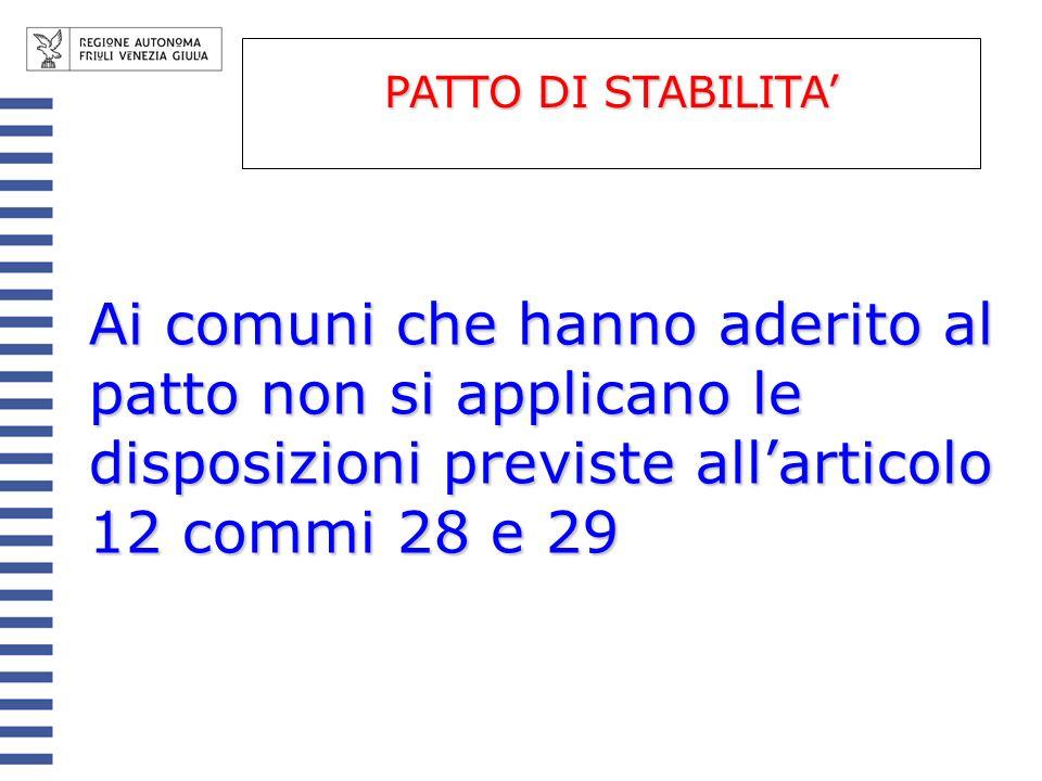 Ai comuni che hanno aderito al patto non si applicano le disposizioni previste allarticolo 12 commi 28 e 29 PATTO DI STABILITA