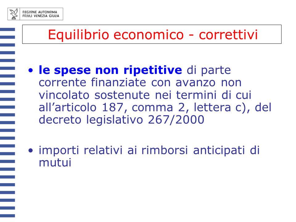 le spese non ripetitive di parte corrente finanziate con avanzo non vincolato sostenute nei termini di cui allarticolo 187, comma 2, lettera c), del d
