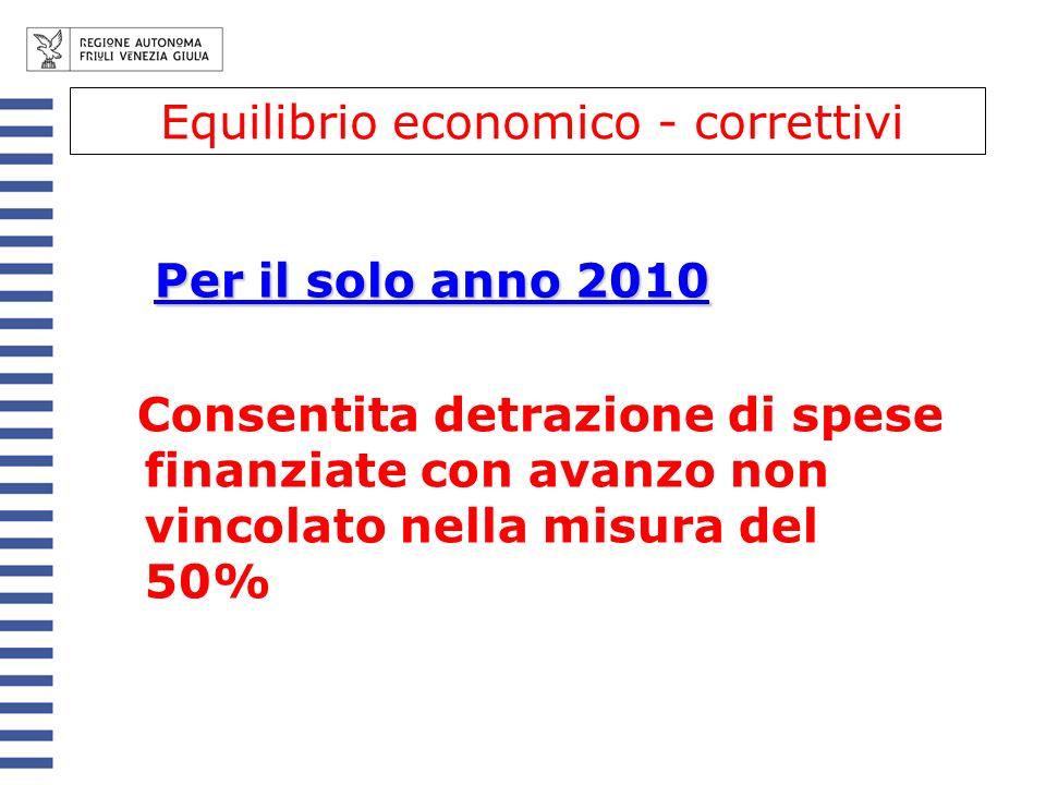 Per il solo anno 2010 Consentita detrazione di spese finanziate con avanzo non vincolato nella misura del 50% Equilibrio economico - correttivi