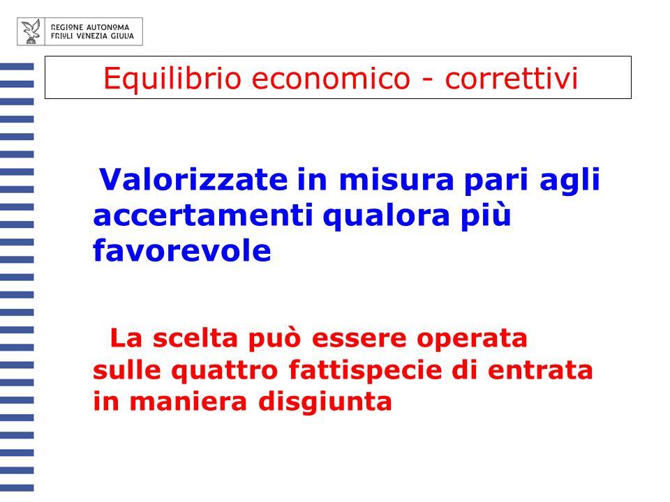 Valorizzate in misura pari agli accertamenti qualora più favorevole La scelta può essere operata sulle quattro fattispecie di entrata in maniera disgiunta Equilibrio economico - correttivi