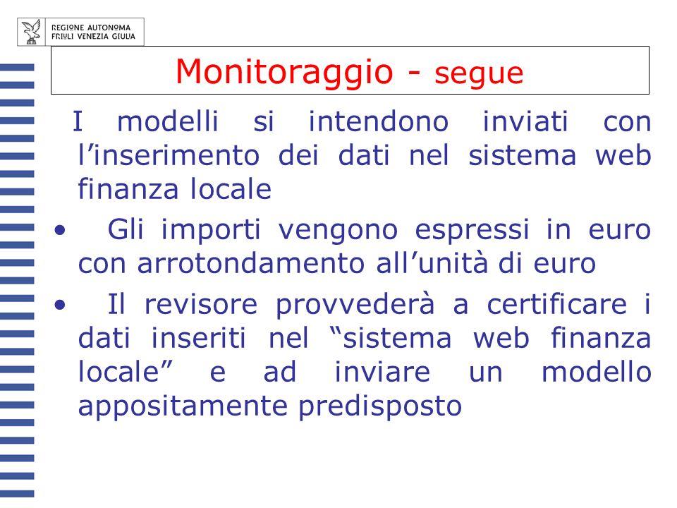 Monitoraggio - segue I modelli si intendono inviati con linserimento dei dati nel sistema web finanza locale Gli importi vengono espressi in euro con