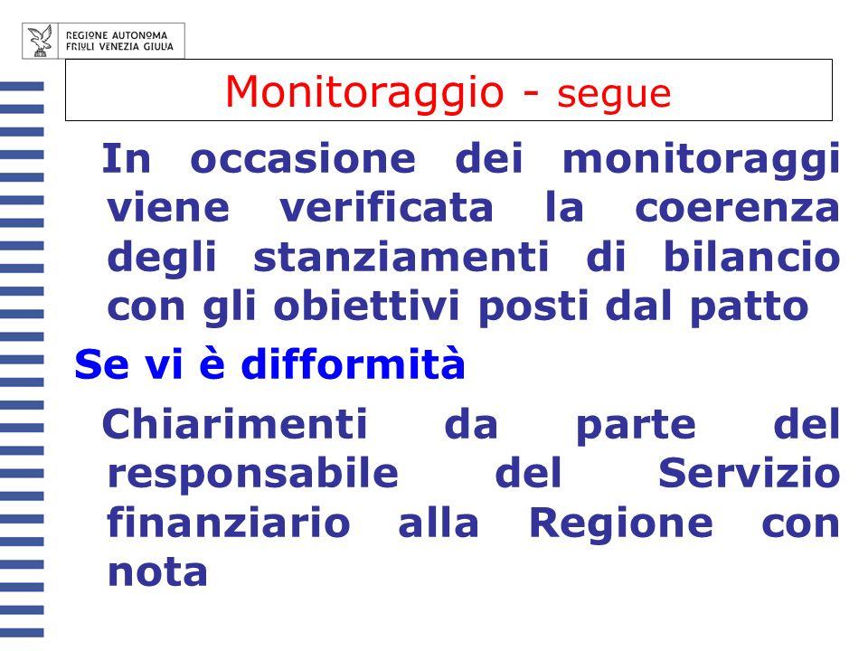 Monitoraggio - segue In occasione dei monitoraggi viene verificata la coerenza degli stanziamenti di bilancio con gli obiettivi posti dal patto Se vi è difformità Chiarimenti da parte del responsabile del Servizio finanziario alla Regione con nota