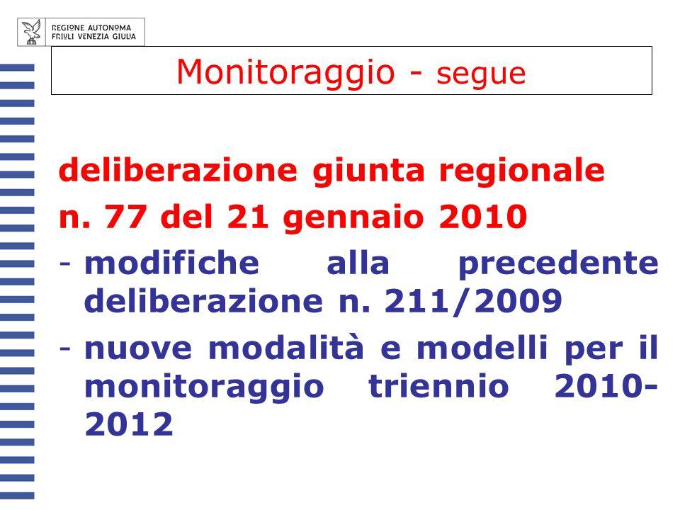 Monitoraggio - segue deliberazione giunta regionale n. 77 del 21 gennaio 2010 -modifiche alla precedente deliberazione n. 211/2009 -nuove modalità e m